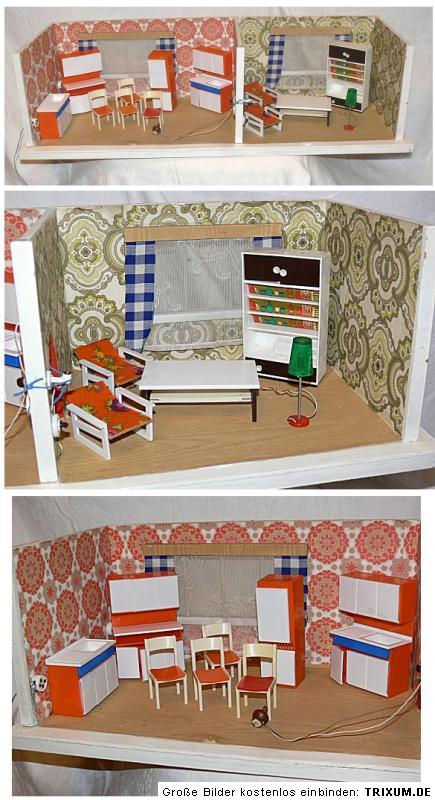 puppenstube mit m bel 70er jahre ebay. Black Bedroom Furniture Sets. Home Design Ideas