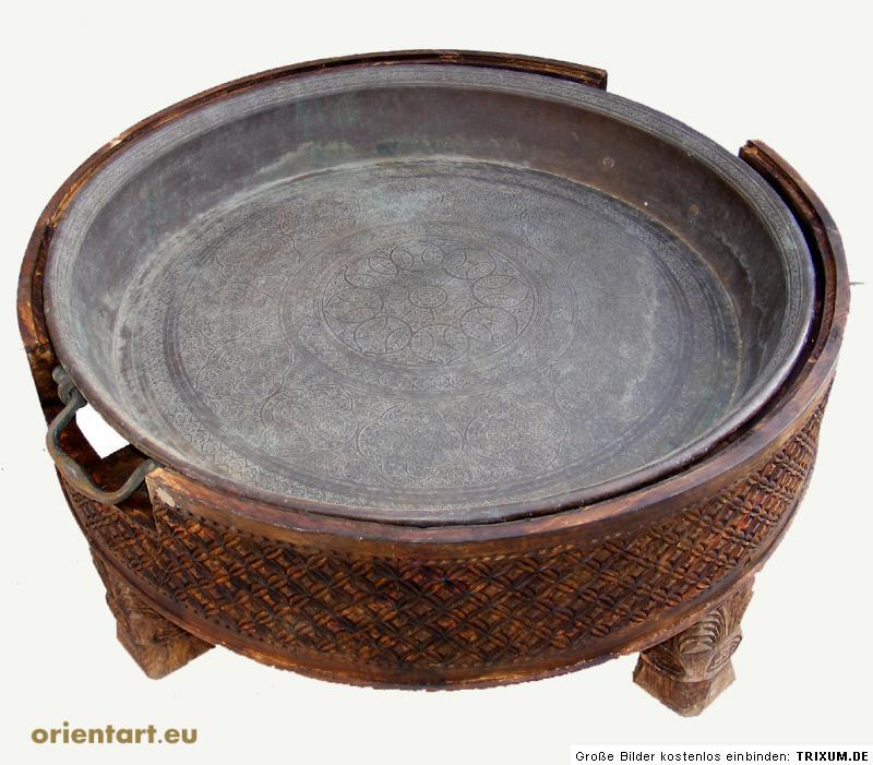 118 cm antik orient messing bronze couchtisch teetisch. Black Bedroom Furniture Sets. Home Design Ideas
