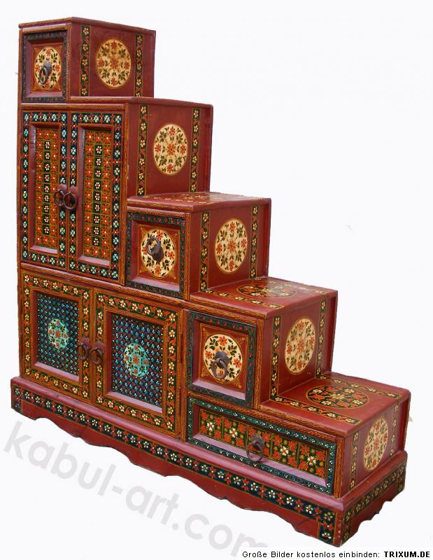 orient afghan treppen schrank kommode sideboard mogul l ebay. Black Bedroom Furniture Sets. Home Design Ideas