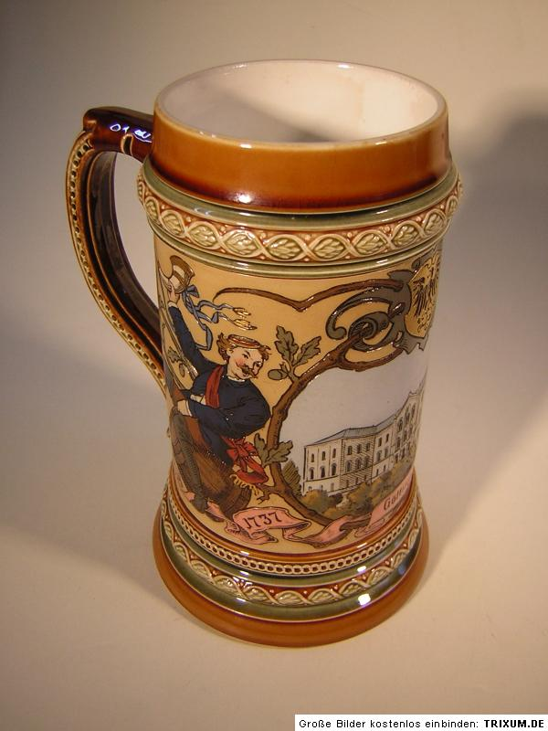 villeroy boch beer stein mettlach 150 years uni g ttingen signed c warth 1887 ebay. Black Bedroom Furniture Sets. Home Design Ideas