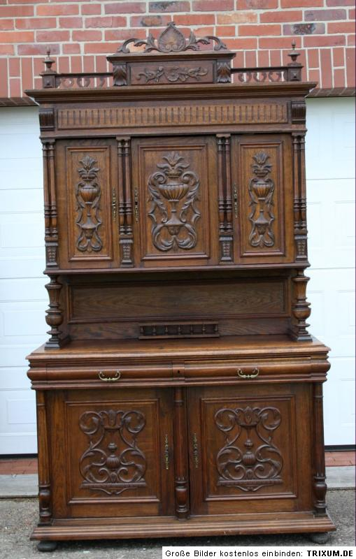 original berliner aufsatz buffet um 1890 eiche massiv flach kerb schnitzerei ebay. Black Bedroom Furniture Sets. Home Design Ideas